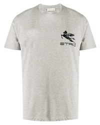 graues bedrucktes T-Shirt mit einem Rundhalsausschnitt von Etro
