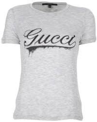 graues bedrucktes T-Shirt mit einem Rundhalsausschnitt von Gucci
