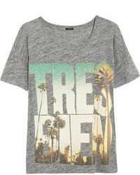 graues bedrucktes T-Shirt mit einem Rundhalsausschnitt von J.Crew