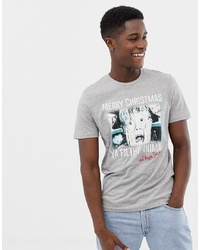 graues bedrucktes T-Shirt mit einem Rundhalsausschnitt von Jack & Jones