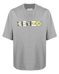 graues bedrucktes T-Shirt mit einem Rundhalsausschnitt von Kenzo
