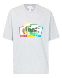 graues bedrucktes T-Shirt mit einem Rundhalsausschnitt von Lacoste