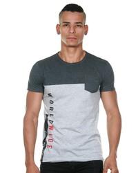 graues bedrucktes T-Shirt mit einem Rundhalsausschnitt von MADMEXT