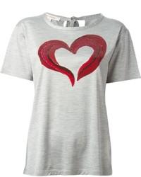 graues bedrucktes T-Shirt mit einem Rundhalsausschnitt von Marc Jacobs