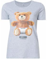 graues bedrucktes T-Shirt mit einem Rundhalsausschnitt von Moschino