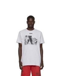 graues bedrucktes T-Shirt mit einem Rundhalsausschnitt von Off-White