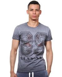 graues bedrucktes T-Shirt mit einem Rundhalsausschnitt von R-NEAL