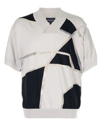 graues bedrucktes T-Shirt mit einem V-Ausschnitt von Emporio Armani