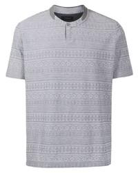 graues bedrucktes T-shirt mit einer Knopfleiste von D'urban
