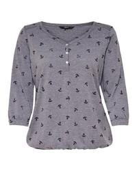 graues bedrucktes T-shirt mit einer Knopfleiste von Only