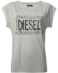 graues bedrucktes T-Shirt mit einem Rundhalsausschnitt