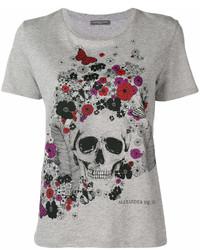 graues bedrucktes T-Shirt mit einem Rundhalsausschnitt von Alexander McQueen