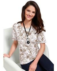 graues bedrucktes T-Shirt mit einem Rundhalsausschnitt von CLASSIC BASICS