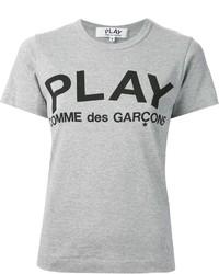 Graues bedrucktes T-Shirt mit Rundhalsausschnitt von Comme des Garcons