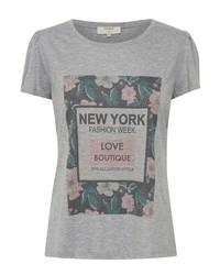 graues bedrucktes T-Shirt mit einem Rundhalsausschnitt von Cream