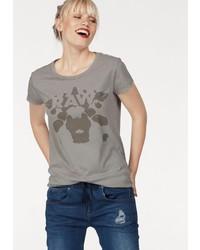 graues bedrucktes T-Shirt mit einem Rundhalsausschnitt von G-Star Raw