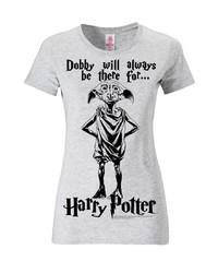 graues bedrucktes T-Shirt mit einem Rundhalsausschnitt von Logoshirt