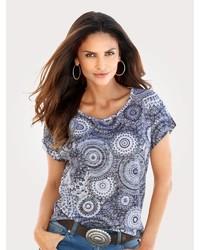 graues bedrucktes T-Shirt mit einem Rundhalsausschnitt von MONA