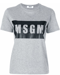 graues bedrucktes T-Shirt mit einem Rundhalsausschnitt von MSGM