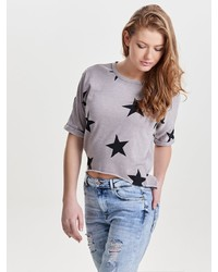 graues bedrucktes T-Shirt mit einem Rundhalsausschnitt von Only