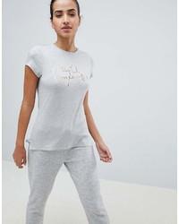 graues bedrucktes T-Shirt mit einem Rundhalsausschnitt von Ted Baker