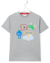 graues bedrucktes T-shirt von Fendi