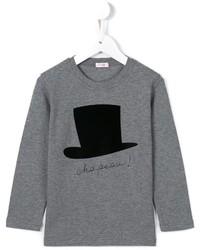 graues bedrucktes T-shirt von Il Gufo