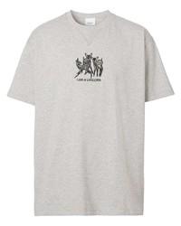 graues besticktes T-Shirt mit einem Rundhalsausschnitt von Burberry