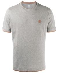 graues besticktes T-Shirt mit einem Rundhalsausschnitt von Eleventy
