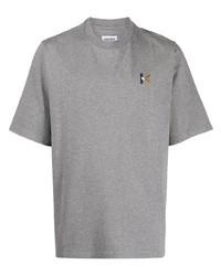 graues besticktes T-Shirt mit einem Rundhalsausschnitt von Kenzo