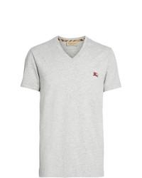 graues besticktes T-Shirt mit einem V-Ausschnitt von Burberry