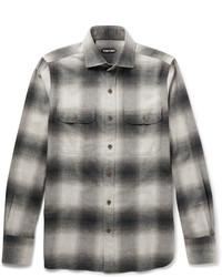 graues Flanell Langarmhemd mit Karomuster