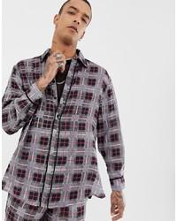 graues Flanell Langarmhemd mit Karomuster von Sacred Hawk