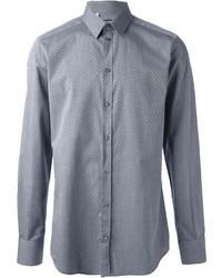 graues gepunktetes Langarmhemd