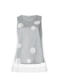 graues gepunktetes Trägershirt aus Netzstoff von Fabiana Filippi