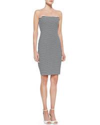 graues horizontal gestreiftes figurbetontes Kleid
