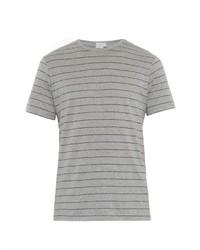 graues horizontal gestreiftes T-Shirt mit einem Rundhalsausschnitt
