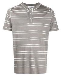 graues horizontal gestreiftes T-shirt mit einer Knopfleiste von Cruciani