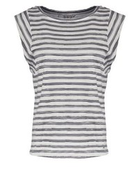 graues horizontal gestreiftes T-Shirt mit einem Rundhalsausschnitt von khujo