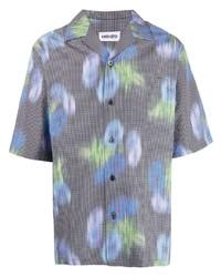 graues Kurzarmhemd mit Blumenmuster von Kenzo