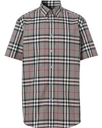 graues Kurzarmhemd mit Schottenmuster von Burberry