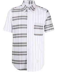 graues Kurzarmhemd mit Schottenmuster von Thom Browne