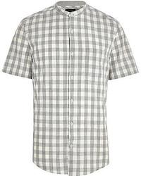 graues Kurzarmhemd mit Vichy-Muster