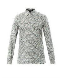 graues Langarmhemd mit Blumenmuster