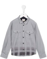 graues Langarmhemd mit Karomuster von Armani Junior