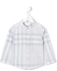 graues Langarmhemd mit Karomuster von Burberry