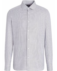 graues Langarmhemd mit Karomuster von Ermenegildo Zegna