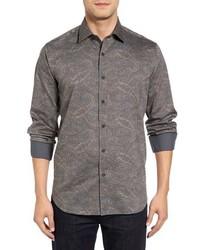 graues Langarmhemd mit Paisley-Muster