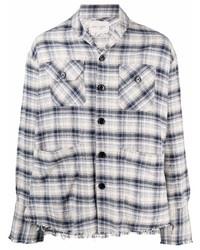 graues Langarmhemd mit Schottenmuster von Greg Lauren