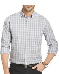 graues Langarmhemd mit Vichy-Muster